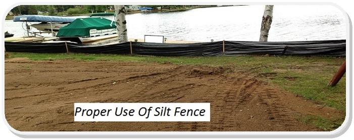 Proper Silt Fence Use Dirt on Lake Shore