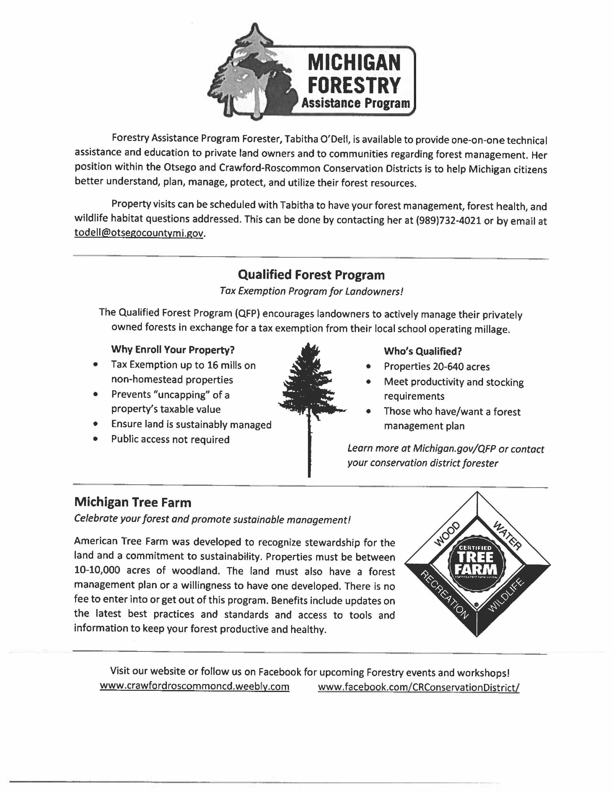 Michigan Forestry Assistance Program